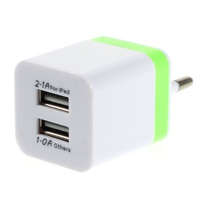 EU Plug Dual USB AC Charger Adapter for iPad Mini iPhone Samsung Sony LG - Green