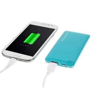Blue 5000mAh Slim Battery Mobile Power Bank Charger for iPhone iPod Samsung Sony HTC LG