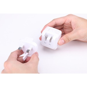 White IHAVE Tank 3.4A Dual USB Travel Charger with US to UK Plug Adaptor for iPhone iPad Samsung HTC Etc.