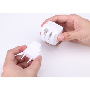 White IHAVE Tank 3.4A Dual USB Travel Charger with US to EU Plug Adaptor for iPhone iPad Samsung Sony Etc.