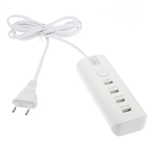 4-Port USB Charger w/ EU Plug for iPad iPhone Samsung etc - White