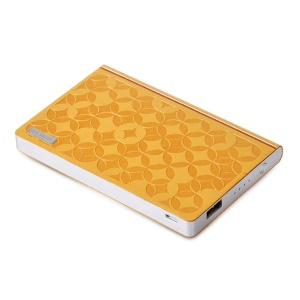 Remax Play Paper Series 6000mAh Embossed Leather Power Bank for iPad iPhone Samsung Sony LG HTC Tablets - Yellow