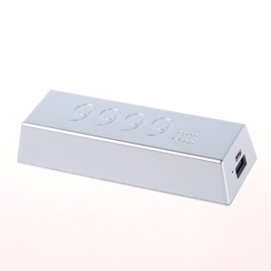 Remax Golden Bar Series 6666mAh External Battery for iPod iPhone Samsung Sony LG etc - Silver
