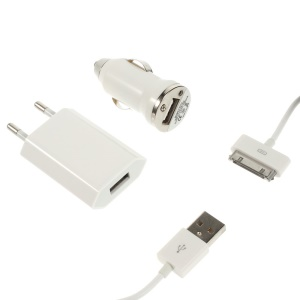 3 in 1 EU Plug Wall Charger + Car Charger + 30pin Data Cable for iPhone 4 4S iPod Touch 3 4 - White