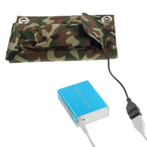 Blue 5200mAh Mobile Power Bank + 8W Outdoor Folding Solar Panel for iPhone iPad Smartphone Tablet