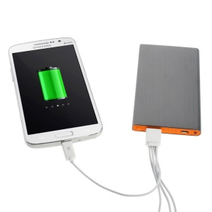 Grey 6000mAh Slim Brushed Metal Mobile USB Charger Backup Battery for iPhone iPod Samsung Sony LG