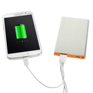 Silver 6000mAh Slim Brushed Metal Mobile USB Charger Backup Battery for iPhone iPod Samsung Sony LG