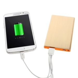 Gold 6000mAh Slim Brushed Metal Portable USB Charger Backup Power for iPhone iPod Samsung Sony LG