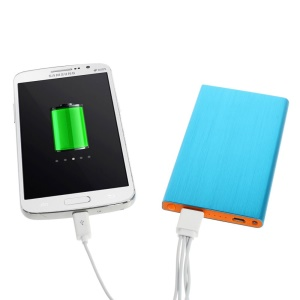 Blue 6000mAh Slim Brushed Metal Portable USB Charger Power Bank for iPhone iPod Samsung Sony LG