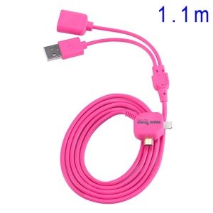 Rose 2 in 1 OTG Data Charging USB Cable 110cm TakeFans Dazzle Color Series II for iPhone 5s 5 5c / Samsung Sony LG Etc