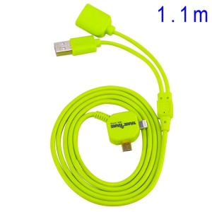 Green TakeFans Dazzle Color Series II 2 in 1 OTG Data Charging USB Cable 110cm for iPhone 5s 5 5c / Samsung Sony LG Etc