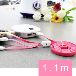 Pink 3 in 1 TakeFans Dazzle Color Series II USB Charging Cable 110cm for iPhone 5 5s 5c 4s / Samsung Sony HTC Etc