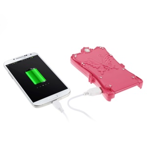 Diamond Lady Cosmetic Mirror Battery Charger for iPhone Samsung Sony HTC LG etc - Rose