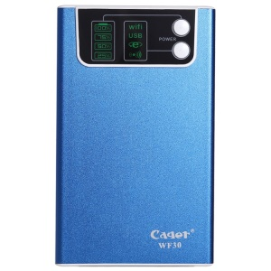 Cager WF30-4 10400mAh Power Bank w/ 3G WiFi Router & Cloud Storage for iPhone iPod Samsung - Blue