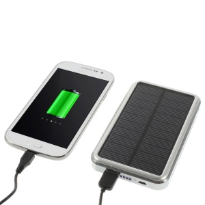 16800mAh Solar Panel External Power Bank Battery Charger for iPhone iPad Samsung Sony LG HTC - Silver