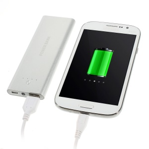 5000mAh Metal Skin External Power Bank Battery Charger w/ LED Flashlight for iPhone iPod Samsung Sony HTC Smartphones - Silver