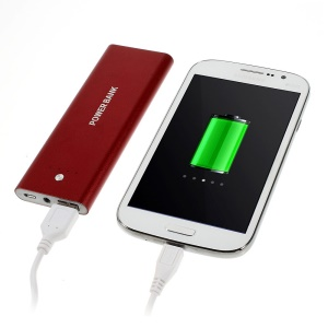 5000mAh Metal Skin Power Bank Battery Charger w/ LED Flashlight for iPhone iPod Samsung Sony HTC Smartphones - Red