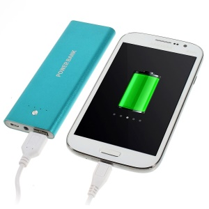 5000mAh Metal Skin Battery Charger Power Bank w/ LED Flashlight for iPhone iPod Samsung Sony HTC Smartphones - Blue