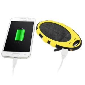 Mirror Shaped 5000mAh Dual-USB Solar Power External Battery for iPhone iPod Samsung Sony etc - Yellow