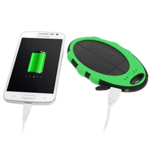 Mirror Shaped 5000mAh Dual-USB Solar Power Bank for iPhone iPod Samsung Sony etc - Green