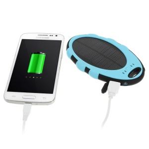 Mirror Shaped 5000mAh Dual-USB Solar Power Backup Battery for iPhone iPod Samsung Sony etc - Blue