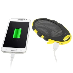 Mirror Shaped 5000mAh Dual-USB Solar Power Backup Battery for iPhone iPod Samsung Sony etc - Black / Yellow