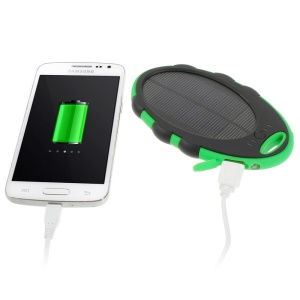 Mirror Shaped 5000mAh Dual-USB Solar Power Battery Charger for iPhone iPod Samsung Sony etc - Black / Green