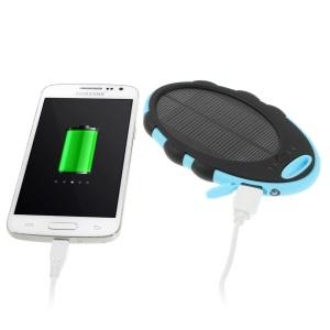Mirror Shaped 5000mAh Dual-USB Solar Power Bank for iPhone iPod Samsung Sony etc - Black / Blue