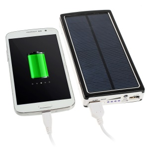 20000mAh Solar Panel Power Bank for iPhone iPod iPad Smartphones Tablets - Black