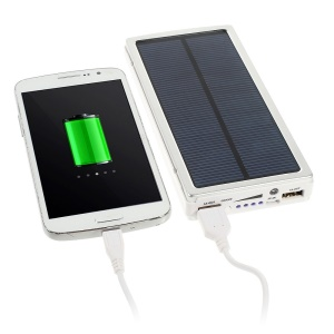 20000mAh Solar Panel Charger Backup External Battery Pack for iPhone iPod iPad Smartphones Tablets - Silver