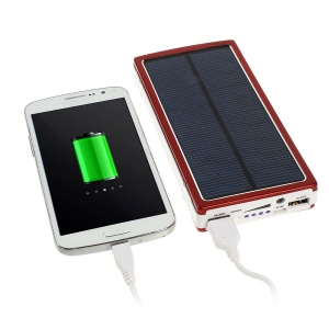 20000mAh Solar Panel Charger Backup External Battery Pack for iPhone iPod iPad Smartphones Tablets - Red