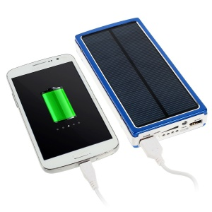 20000mAh Solar Panel Power Bank Charger for iPhone iPod iPad Smartphones Tablets - Blue