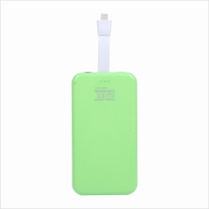 KLX-003 4000mAh Suction Cup Power Bank w/ Lightning 8 Pin USB Cable for iPhone iPod - Green