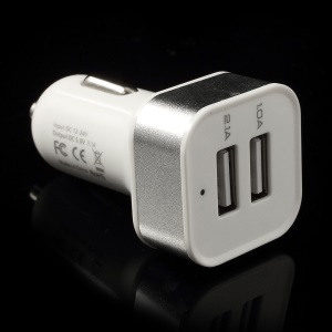 Square 3.1A Dual USB Car Charger Adapter for Cellphones Tablets - Silver