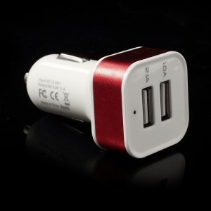 Square 3.1A Dual USB Car Charger Adapter for Cellphones Tablets MP3 MP4 GPS etc - Red