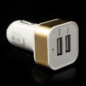Square 3.1A Dual USB Car Charger Adapter for Cellphones Tablets MP3 MP4 GPS etc - Gold