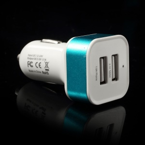 Square 3.1A Dual USB Car Charger Adapter for Cellphones Tablets MP3 MP4 GPS etc - Blue