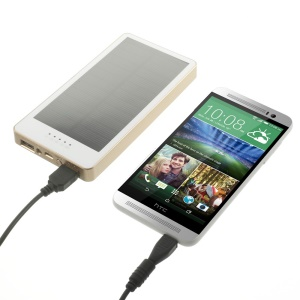 12000mAh Portable Solar Power Charger Dual USB for iPhone iPad Samsung HTC Cellphone Tablet - White