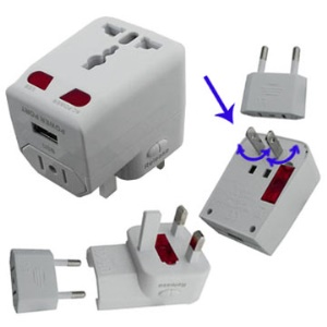 Universal World Travel Charger Adapter Converter AC Plug with USB Port