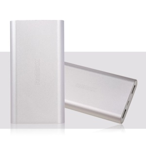Silver Remax Vanguard Series 10000mAh Aluminum Power Bank for iPhone iPad Samsung HTC Cellphones Tablets