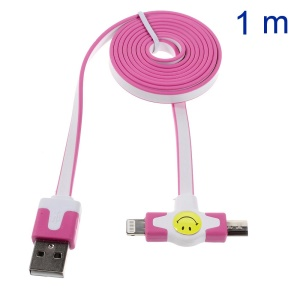 Star Go 2 in 1 Lightning 8Pin + Micro USB Sync Charging Flat Cable for iPhone 5s 5 5 Samsung Sony - Rose