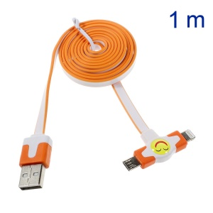 Star Go 2 in 1 Lightning 8Pin + Micro USB Sync Charging Flat Cable for iPhone 5s 5 5 Samsung Sony - Orange