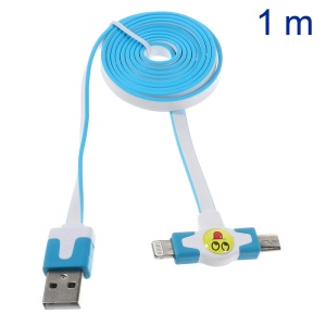 Star Go 2 in 1 Lightning 8Pin + Micro USB Sync Charging Flat Cable for iPhone 5s 5 5 Samsung Sony - Blue