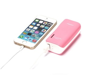 Pisen 5000mAh Color-Power Box External Battery with US Plug & 2 Outputs (Intelligent Detection) - Rose