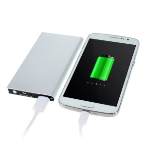 6000mAh Small Book Style Metal Power Bank for iPhone Sony LG HTC Huawei etc - Silver