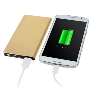 6000mAh Small Book Style Metal Power Bank for iPhone Sony LG HTC Huawei etc - Gold