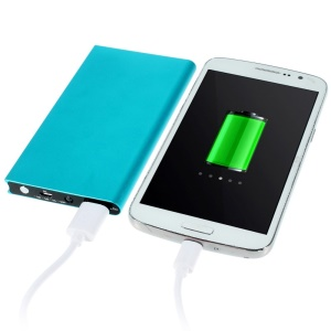 6000mAh Small Book Style Metal Power Bank for iPhone Sony LG HTC Huawei etc - Blue