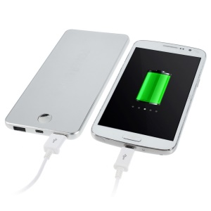 Silver 12000mAh Two Outputs Metal Power Bank for iPhone iPad Sony LG HTC Phones & Tablets