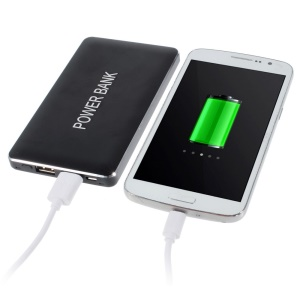 Black 12000mAh Dual Outputs 2.1A Power Bank for iPhone iPad Samsung LG Phones & Tablets