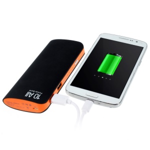 12000mAh Two Outputs Matte Power Bank for iPhone iPad Samsung LG Phones & Tablets - Black